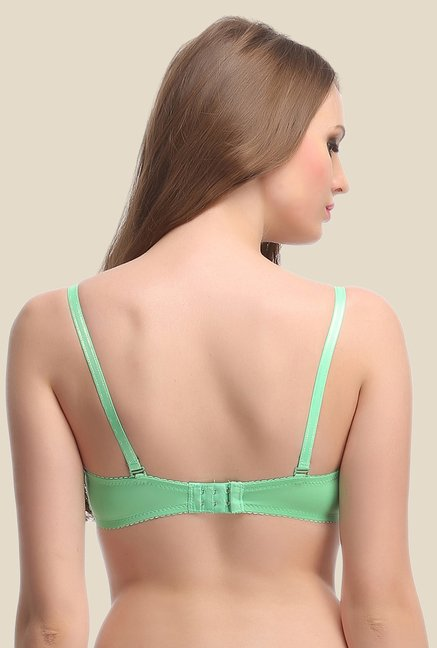 Clovia Green Padded Lace Convertible Bra