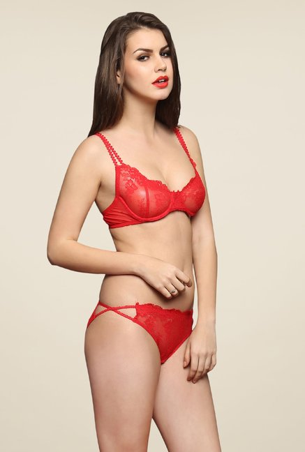 Clovia Red Non-Padded Underwired Bra & Panty Set
