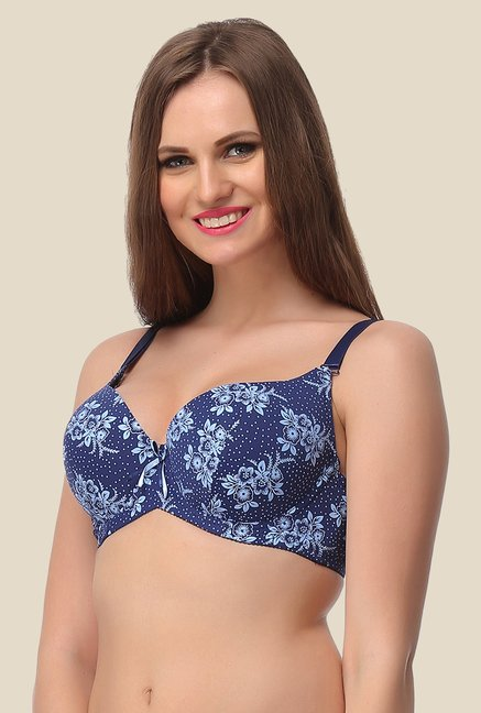 Clovia Blue Full Cup Padded Convertible Bra