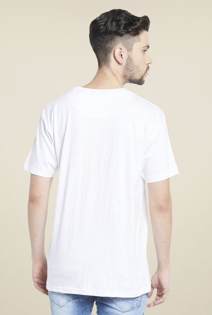 Globus White Graphic Print Cotton T Shirt