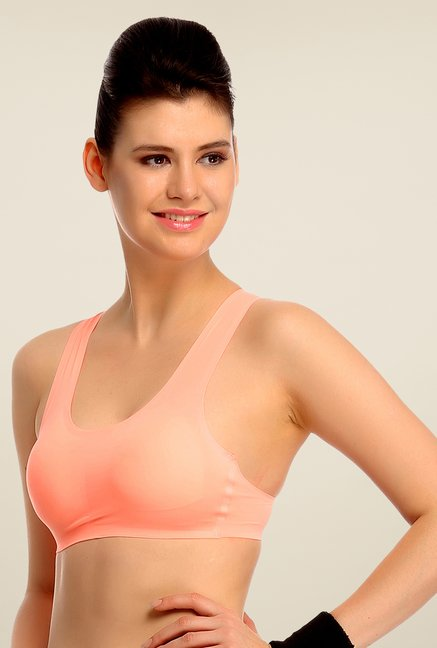 Clovia Peach Padded Sports Bra