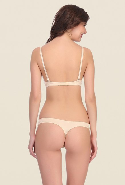 Clovia Beige Under Wired Padded Bra And Panty Set