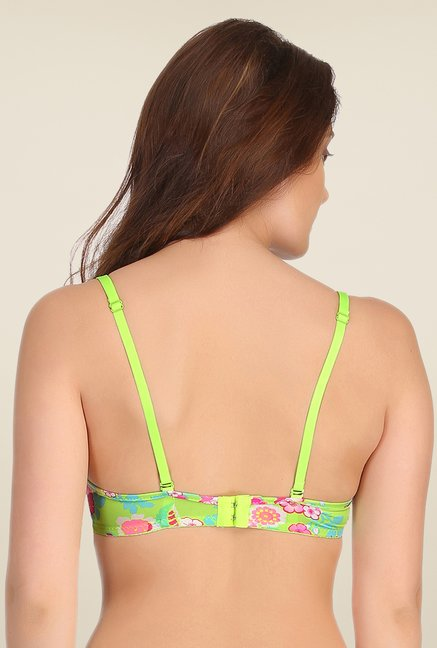Clovia Green Push Up Bra With Back Detachable Straps