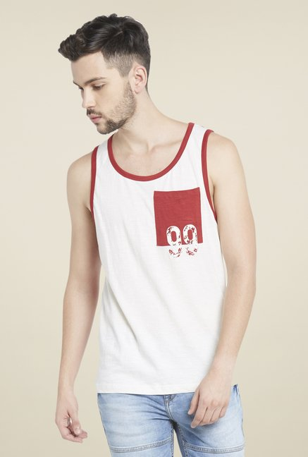 Globus White & Red Printed T Shirt