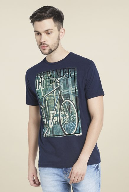 Globus Navy Graphic Print Cotton T Shirt