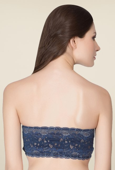 Clovia Dark Blue Lacy Tube Bra