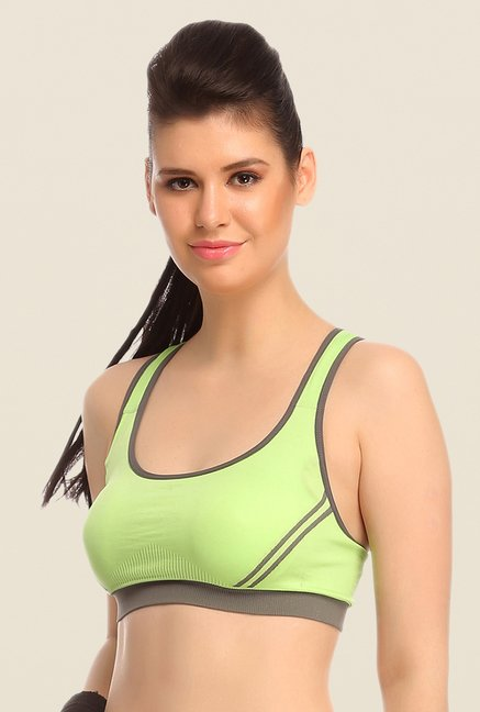 Clovia Green Seamless Sports Bra With Cross Back Straps