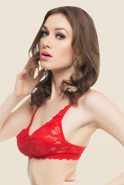 Clovia Red Lace Non Padded Wirefree Bra