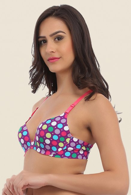 Clovia Purple Laser Cut Padded Convertible Bra