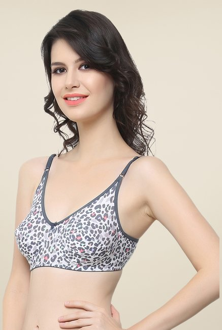 Clovia Grey Animal Print Bra