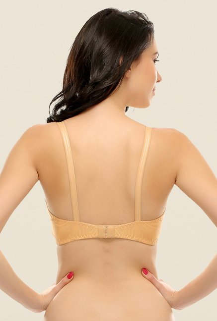 Clovia Beige Double Layered Plus Size T Shirt Bra In