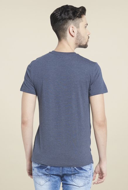Globus Navy Round Neck Viscose T Shirt