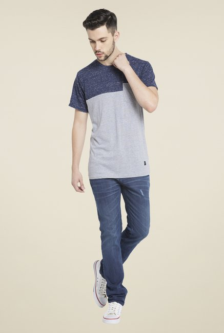 Globus Grey & Navy Textured T Shirt