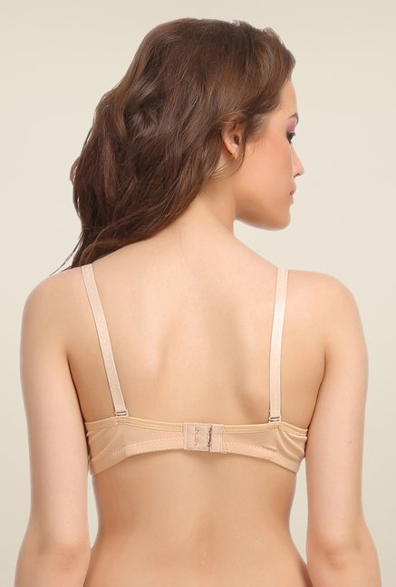 Clovia Beige Padded T Shirt Bra With Detachable Straps