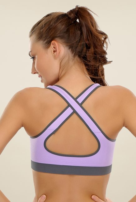 Clovia Purple Sports Bra With Soft Non Wired Cups