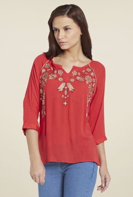 Globus Coral Embroidered Top