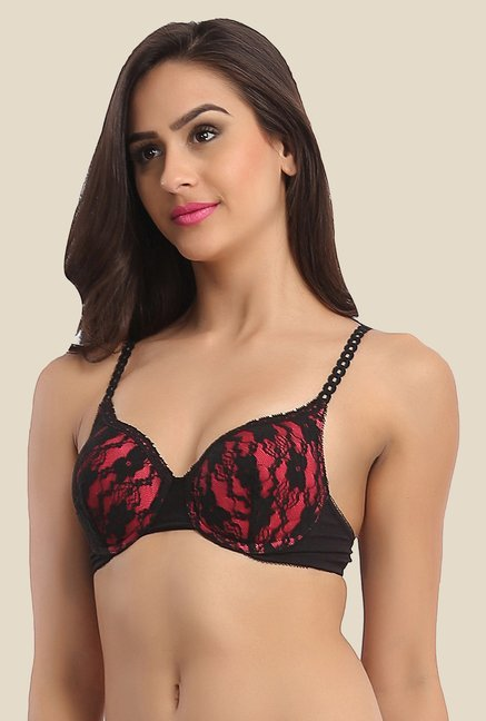 Clovia Black Push Up Bra With All Over Lace Cups