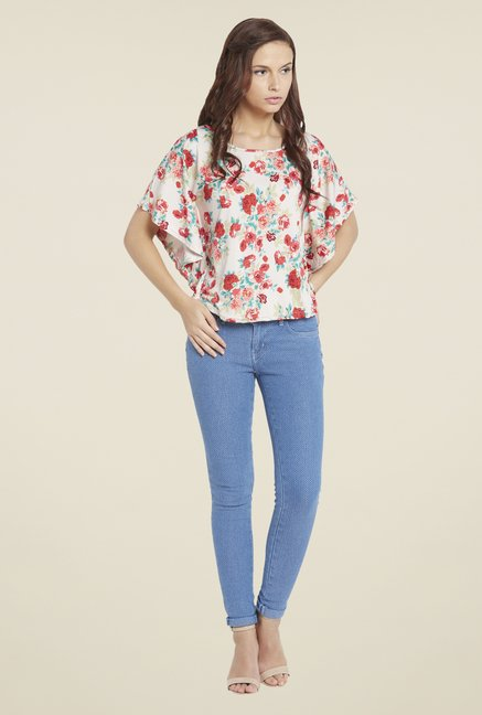 Globus Off White Floral Print Top