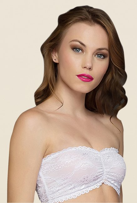 Clovia White Lacy Tube Bra