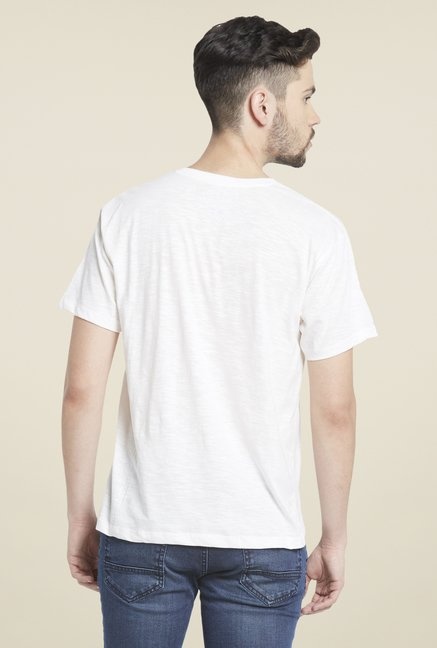 Globus White V Neck T Shirt