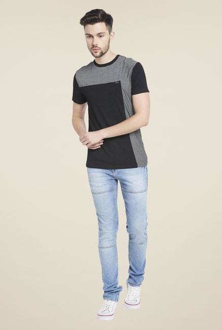Globus Black & Grey Round Neck T Shirt