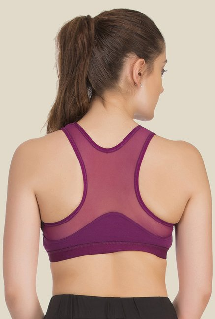 Clovia Purple Lycra Racer Back Sports Bra
