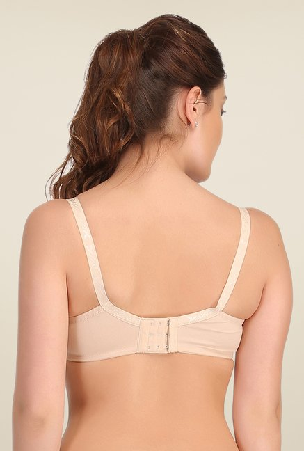 Clovia Beige Lycra Nursing Bra With Embroidered Lace