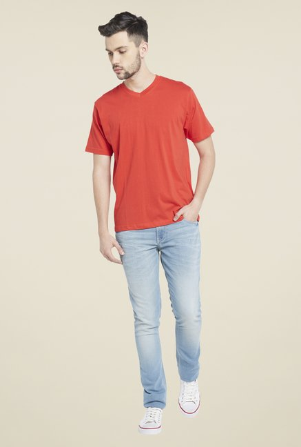 Globus Red V Neck T Shirt