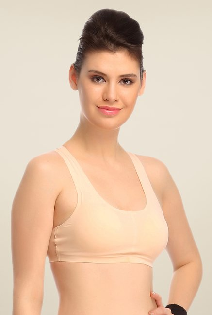 Clovia Beige Padded Sports Bra