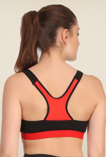 Clovia Black & Red Broad Elastic Padded Sports Bra