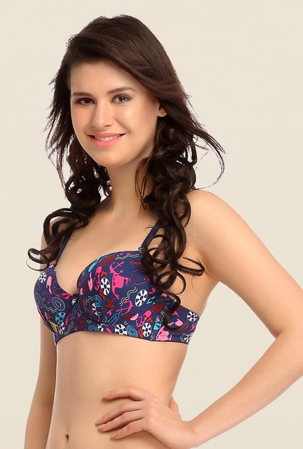 Clovia Dark Blue Padded Bra With Detachable Straps