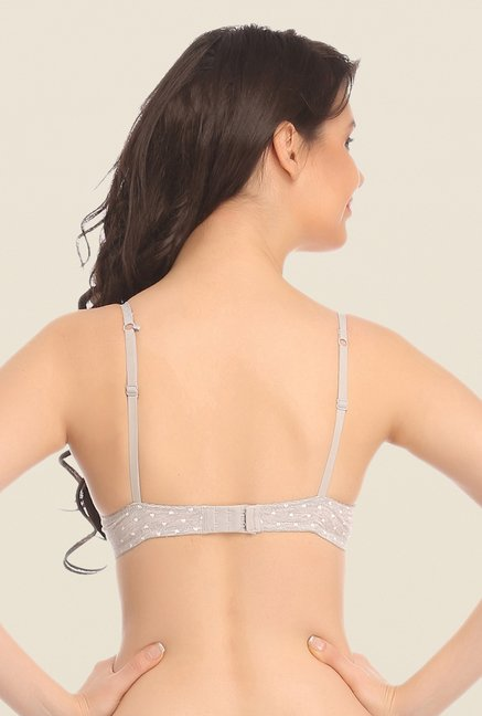 Clovia Grey Polka Dot Padded Printed Bra