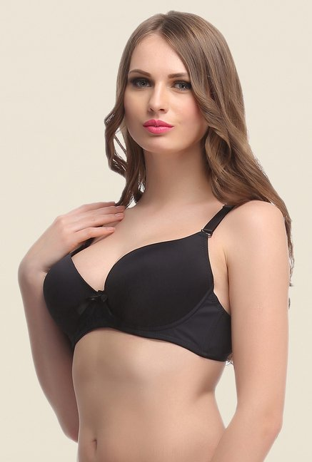 Clovia Black Push Up Convertible Bra& Demi Cups