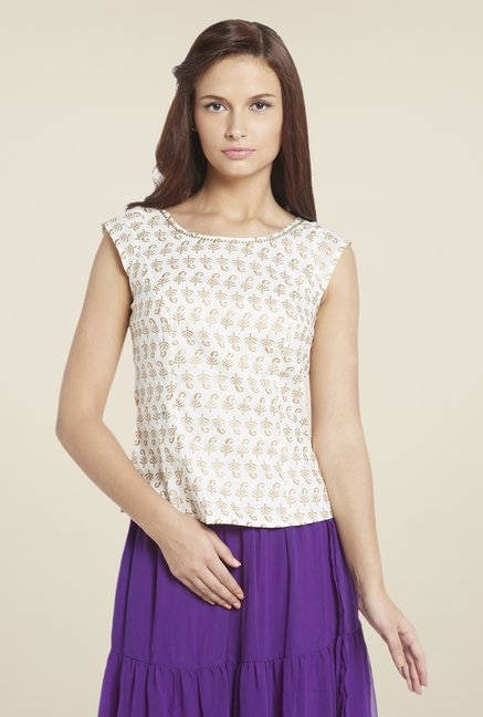 Globus Off White Printed Tunic
