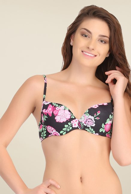 Clovia Black Push Up Bra With Back Detachable Straps