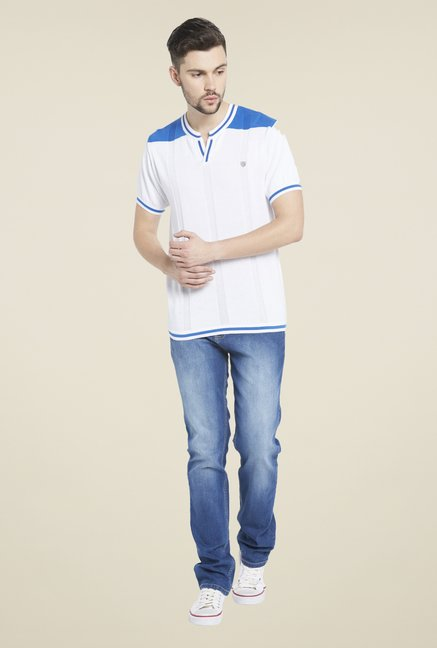 Globus White Round Neck T Shirt