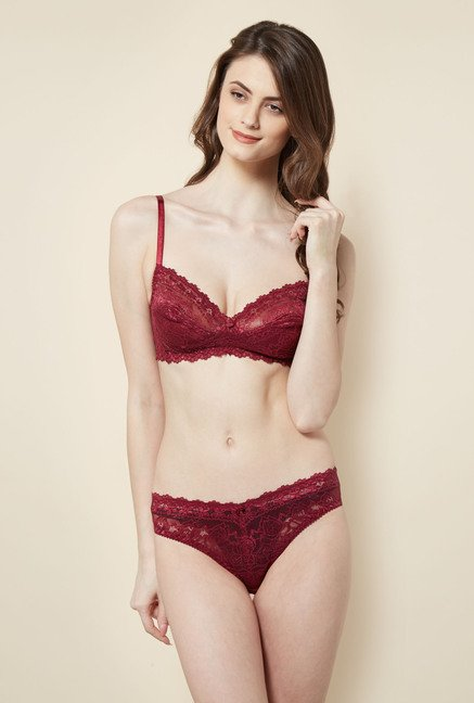 Little Lacy Wine Lace Lingerie Set