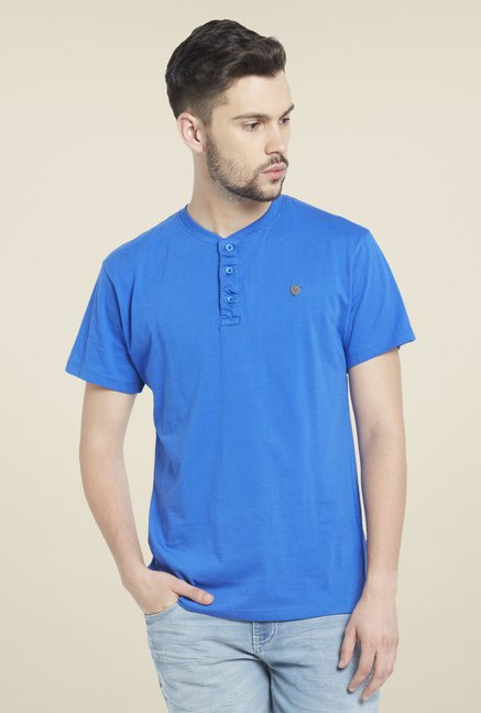 Globus Blue Henley Neck T Shirt