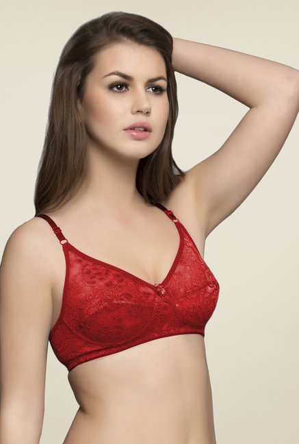 Clovia Red Non Padded Wirefree Bra