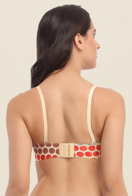 Clovia Beige & Orange Laser Cut Padded Bra