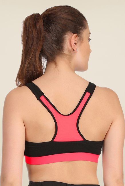 Clovia Black & Pink Broad Elastic Padded Sports Bra