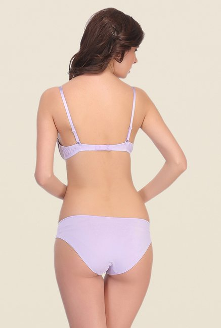 Clovia Lilac Under Wired Padded Bra And Panty Set