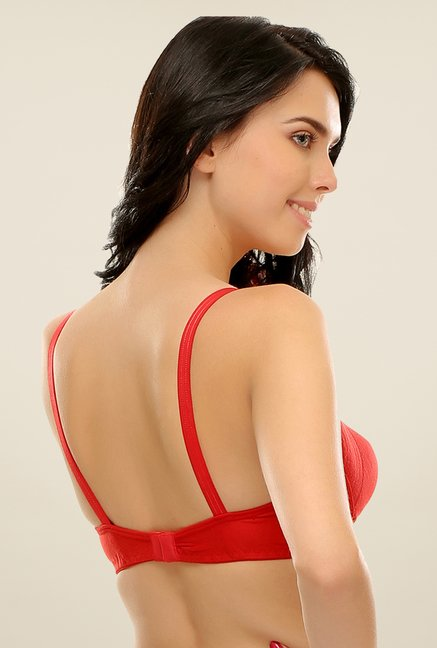 Clovia Red Full Support Plus Size T Shirt Bra