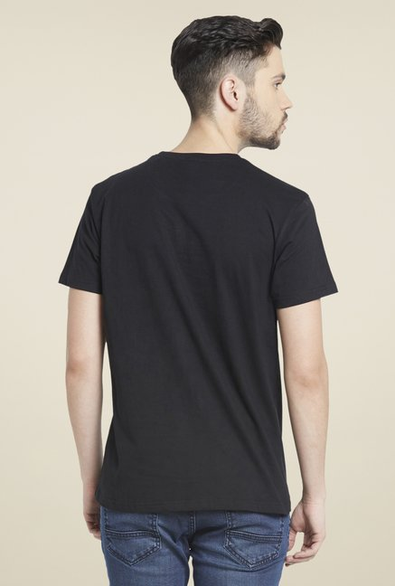 Globus Black Graphic Print Cotton T Shirt