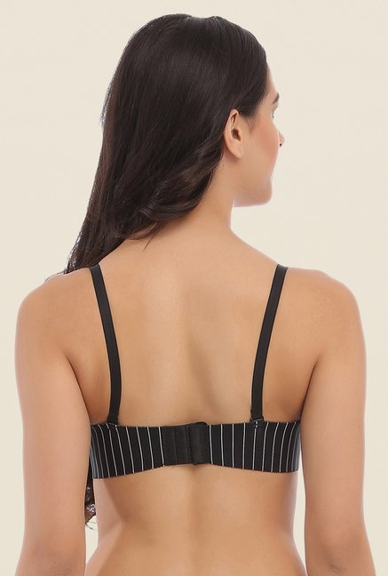 Clovia Black Laser Cut Padded Bra With Detachable Straps