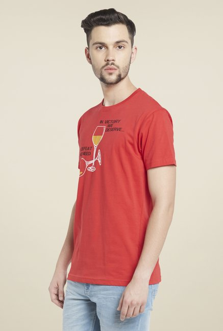 Globus Red Graphic Print Cotton T Shirt