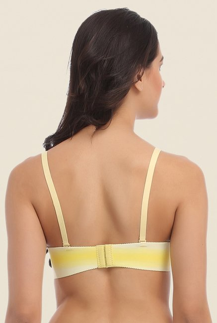 Clovia Yellow Laser Cut Padded Bra With Detachable Straps