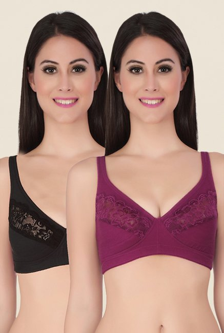 Soie Black & Maroon Full Coverage Minimizer Bra (Pack Of 2)