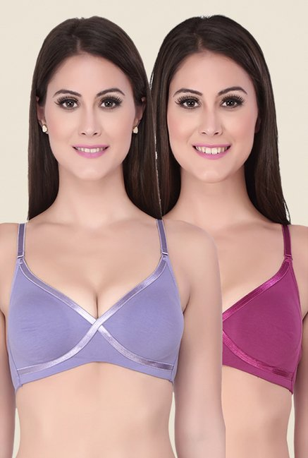 Soie Blue & Pink Double Layered Cups Bra (Pack Of 2)