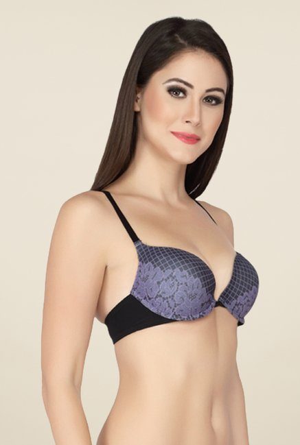 Soie Black Underwired Front Open Bra